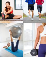 Adultes, jogging, stretching, étirements, renforcement musculaire, musculation